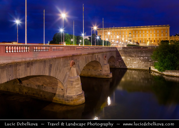 Europe - Scandinavia - Kingdom of Sweden - Sverige - Stockholm - Helgeandsholmen - The Riksdag building - the House of Parliament and the North Bridge - Riksdagshuset and Norrbron  at Dusk - Blue Hour - Twilight‏ - Night