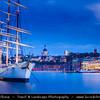 Europe - Scandinavia - Kingdom of Sweden - Sverige - Stockholm - Old Town - Illuminated Chapman ship at Dusk - Blue Hour - Twilight - Night