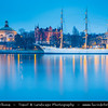 Europe - Scandinavia - Kingdom of Sweden - Sverige - Stockholm - Old Town - Admiralty House & Illuminated Chapman ship at Dawn - Twilight