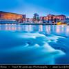 Europe - Scandinavia - Kingdom of Sweden - Sverige - Stockholm - Helgeandsholmen - The Riksdag building - the House of Parliament and the North Bridge - Riksdagshuset and Norrbron - at Dusk - Blue Hour - Twilight
