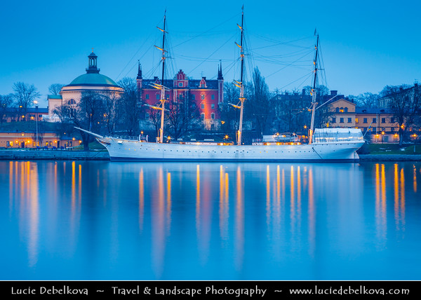 Europe - Scandinavia - Kingdom of Sweden - Sverige - Stockholm - Old Town - Admiralty House & Illuminated Chapman ship at Dawn - Twilight