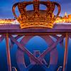 Europe - Scandinavia - Kingdom of Sweden - Sverige - Stockholm - Old Town - Gilded Crown of Skeppsholmen Bridge at Dusk - Blue Hour - Twilight - Night