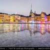Europe - Scandinavia - Kingdom of Sweden - Sverige - Stockholm - Old Town - Histocial city center on shore of Northern Baltic Sea at Dusk - Twilight - Blue Hour - Night