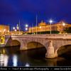 Europe - Scandinavia - Kingdom of Sweden - Sverige - Stockholm - Helgeandsholmen - The Riksdag building - the House of Parliament and the North Bridge - Riksdagshuset and Norrbron  at Dusk - Blue Hour - Twilight - Night