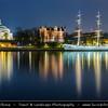 Europe - Scandinavia - Kingdom of Sweden - Sverige - Stockholm - Old Town - Admiralty House & Illuminated Chapman ship at Night