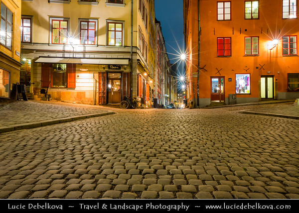 Europe - Scandinavia - Kingdom of Sweden - Sverige - Stockholm - Old Town - Stortorget place in Gamla stan - Night
