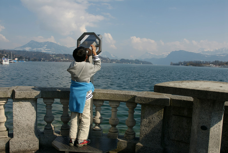 Lucern Lake. Keshav searching for the mountains.