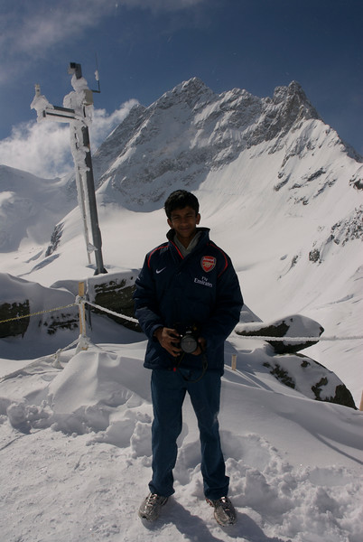 Jayanth with the Jungfrau peak in the backgroud. It was -13C.
