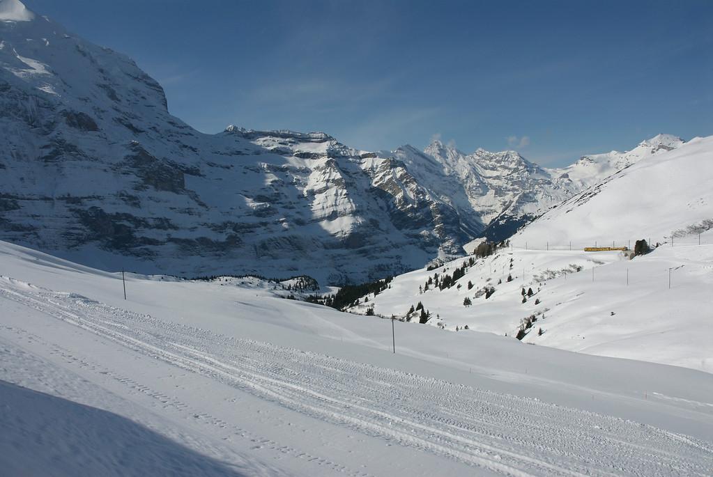 View of the ski slops from Kleine Scheidegg.