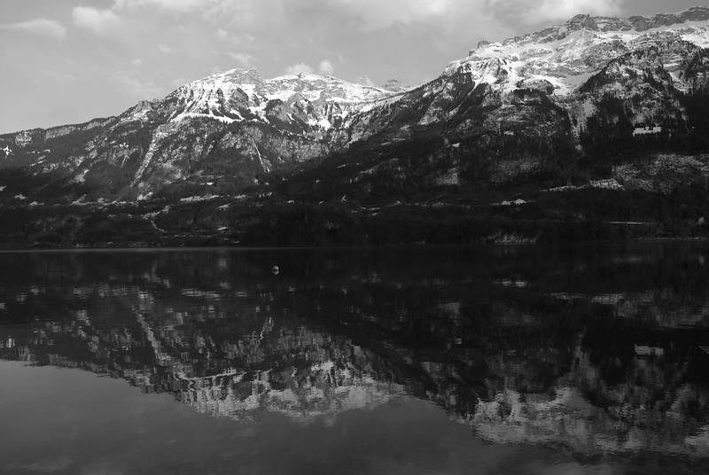 Reflections at Lake Brienz. Yes it is a B/W picture.