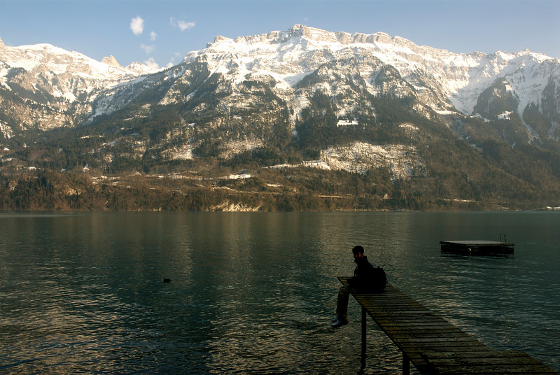 Jayanth on the Boat jetty on Lake Brienz