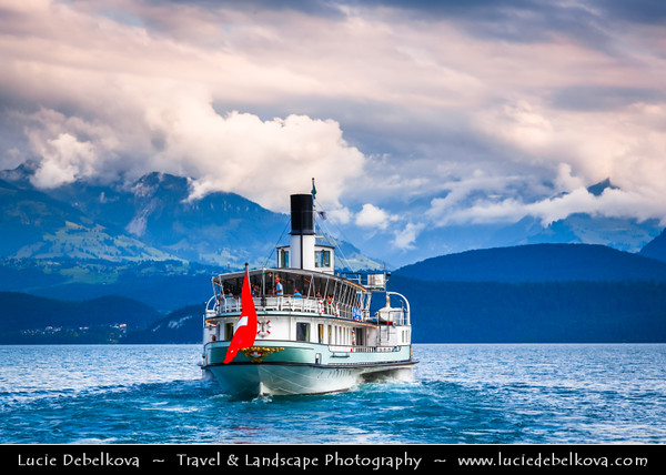 Europe - Switzerland - Swiss - Canton of Bern - Oberhofen Castle - Thunersee - Shores of beautiful Lake of Thun - Lake Transport with Ferry Boat