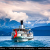 Europe - Switzerland - Swiss - Canton of Bern - Oberhofen Castle - Thunersee - Shores of beautiful Lake of Thun - Lake Transport with Ferry Boat