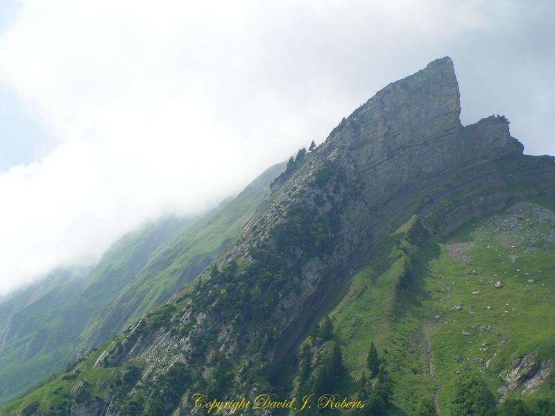 Bent and lifted strata near Ebenalp, Switzerland