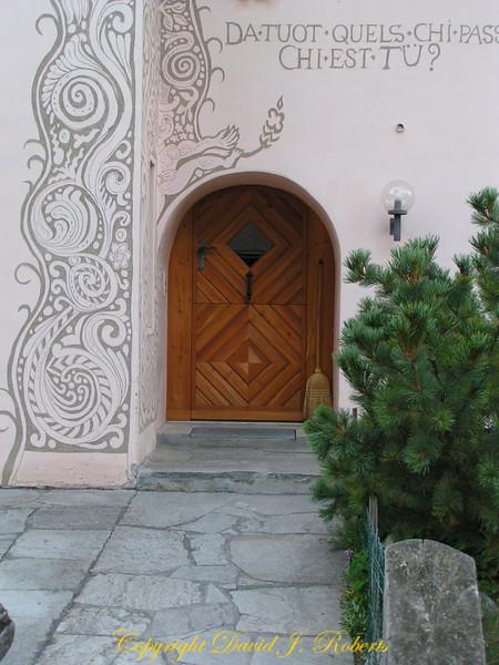 Door and beautiful sgraffiti, Guardia, Switzerland