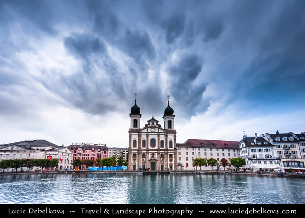 Europe - Switzerland - Swiss -  Lucerne - Luzern - Historical Altstadt - Old Town with well preserved medieval architecture located amid snowcapped mountains on Lake Lucerne - Jesuitenkirche - Lucerne Jesuit Church - first large baroque church built in Switzerland north of the Alps