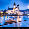 Europe - Switzerland - Swiss -  Lucerne - Luzern - Historical Altstadt - Old Town with well preserved medieval architecture located amid snowcapped mountains on Lake Lucerne - Jesuitenkirche - Lucerne Jesuit Church - first large baroque church built in Switzerland north of the Alps - Dusk - Twilight - Night - Blue Hour