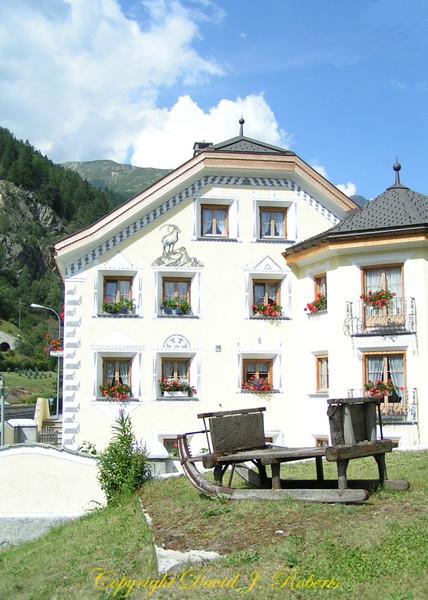 Swiss home with sgraffiti near Engadine, Switzerland