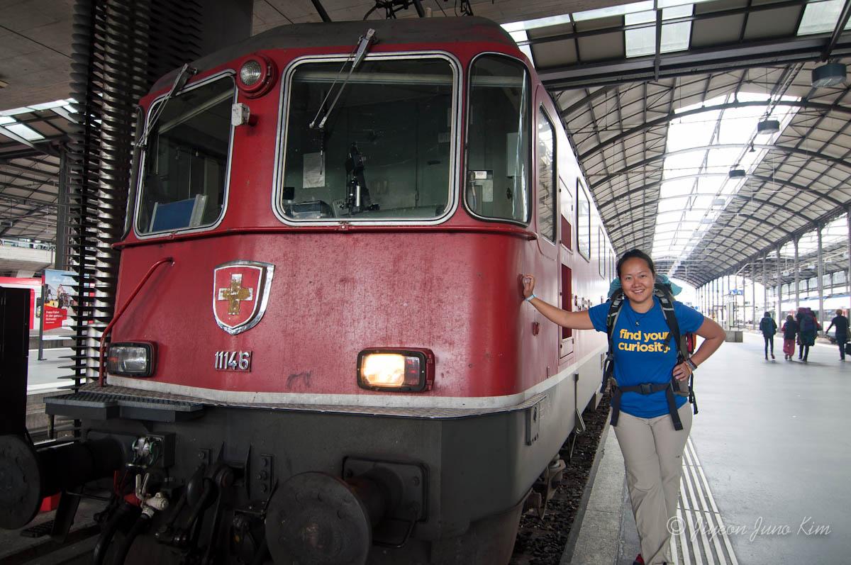 Riding train in Switzerland