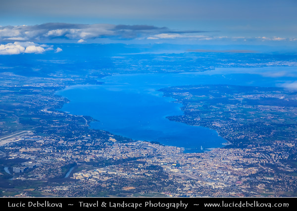 Europe - Switzerland - Swiss - Alps - Alpen - Alpi - Alpes - Great Mountain Range in Europe - Geneva - Genève - Genf - Ginevra - Lake Geneva - Lac Léman - View from Above