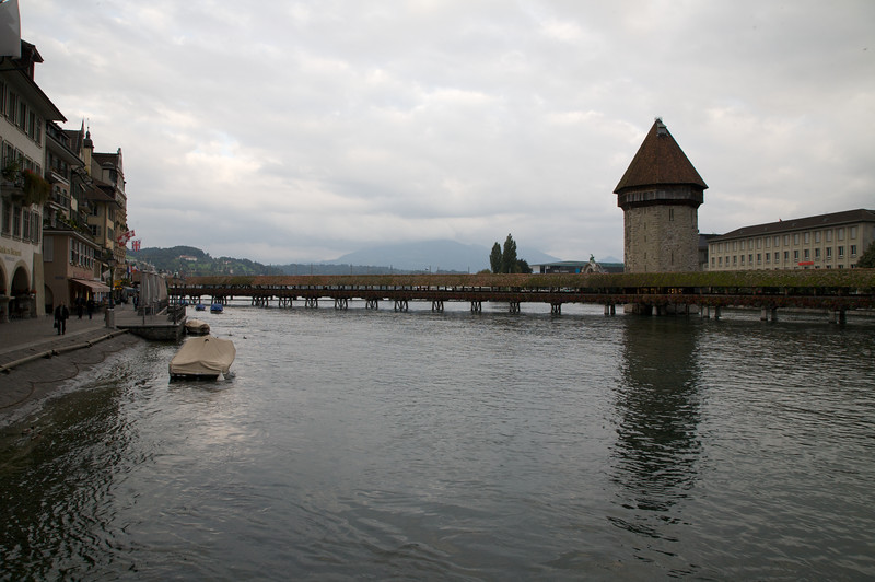 Chapel Bridge (Kapellbrücke), a 204 m (670 ft) long wooden bridge. Lucerne