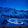 Europe - Switzerland - Swiss - Graubünden Canton - Alps - Alpen - Alpi - Alpes - Great Mountain Range in Europe - Bernina Pass - 2328 m. high mountain pass in the Bernina Range of the Alps at night
