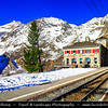 Europe - Switzerland - Swiss - Graubünden Canton - Grisons - Alps - Alpen - Alpi - Alpes - Great Mountain Range in Europe - Alp Grüm - High mountain railway station situated on the Bernina Railway in Swiss Alps