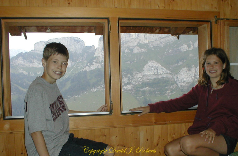 Taking in the view from the Ebenalp Hotel window.