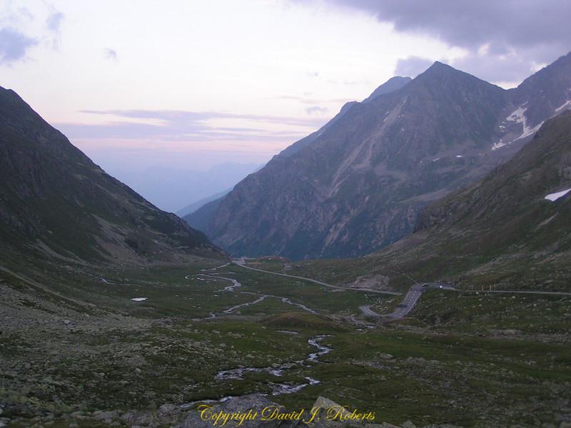 Mountain pass at dusk, Switzerland