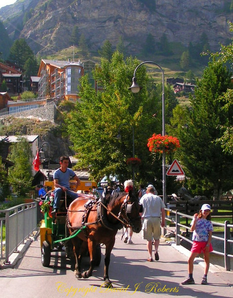 Bridge and carriage, Zermatt, Switzerland