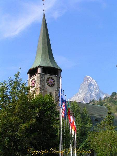 Church and Matterhorn, Zermatt, Switzerland
