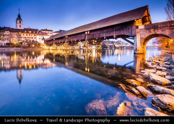 Europe - Switzerland - Swiss - Solothurn Canton - Olten - Historical old town along Aare river with Ancient covered wooden bridge
