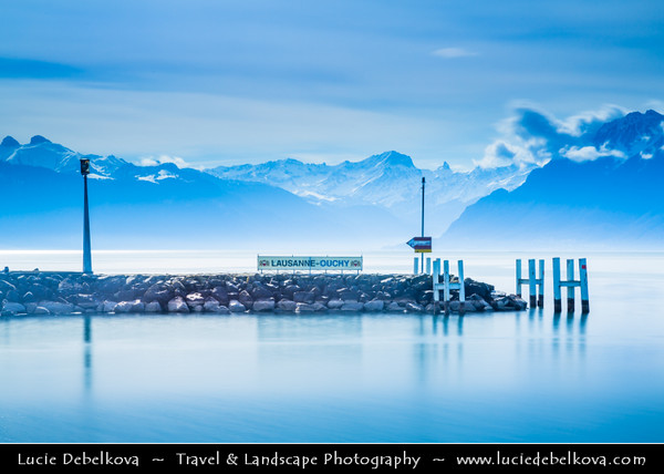 Europe - Switzerland - Swiss - Canton of Vaud - Romandy - Lausanne - City situated on shores of Lake Geneva - Lac Léman - Alps - Swiss plateau with the Jura mountains to its north-west - Ouchy Port & Marina - Popular lakeside resort