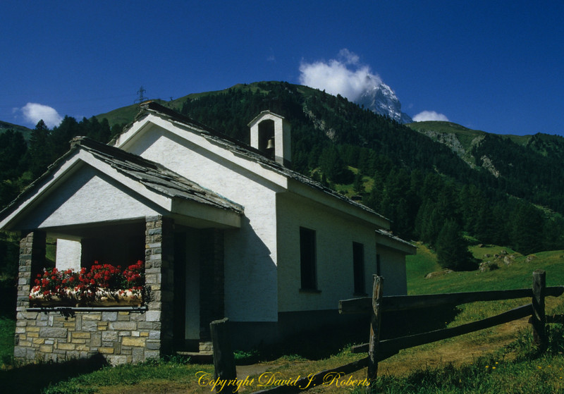 Small church in a valley above Zermatt, Switzerland