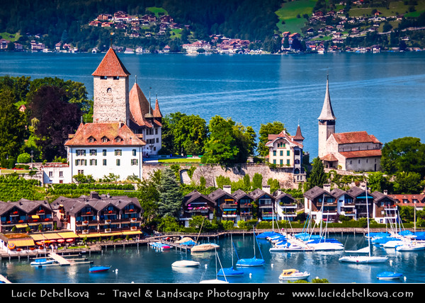 Europe - Switzerland - Swiss - Schloss Spiez - Spiez Castle - Medieval Castle with romantic chapel on small peninsula on Thunersee - Lake Thun