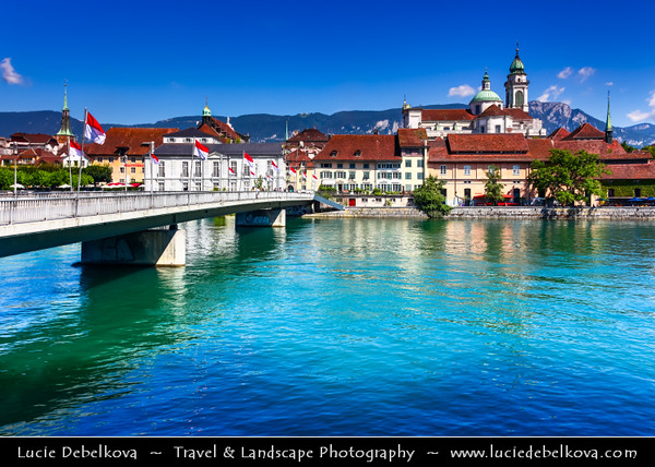 Europe - Switzerland - Swiss - Canton of Solothurn - Solothurn - Old Town on Aare River - Regarded as the finest Baroque town in Switzerland, where Italian grandeur is combined with French charm & German practicality