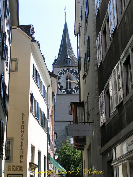 Small Street in old town part of Zurich Switzerland