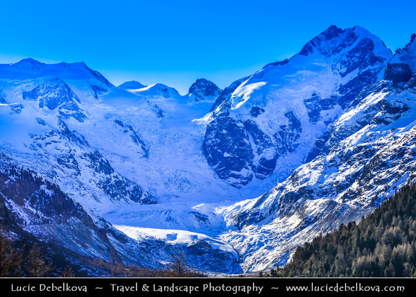 Europe - Switzerland - Swiss - Graubünden Canton - Grisons - Alps - Alpen - Alpi - Alpes - Great Mountain Range in Europe - Morteratsch Glacier - Largest glacier by area in the Bernina Range of the Bündner Alps