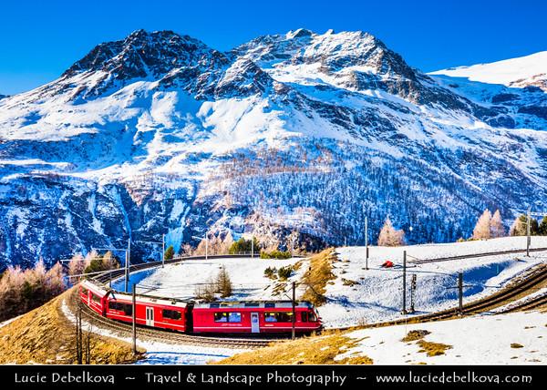 Europe - Switzerland - Swiss - Graubünden Canton - Grisons - Alps - Alpen - Alpi - Alpes - Great Mountain Range in Europe - Alp Grüm - High mountain railway station situated on the Bernina Railway in Swiss Alps