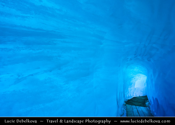 Europe - Switzerland - Swiss - Alps - Alpen - Alpi - Alpes - Great mountain range of Europe - Furka Pass - Rhône Glacier - Ice cave - 100-metre long blue ice tunnel and ice chamber just short of 2300m above sea level on the Valais side