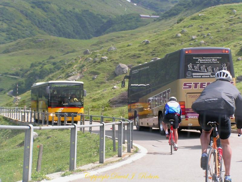 Heavy traffic on a Swiss mountain pass.