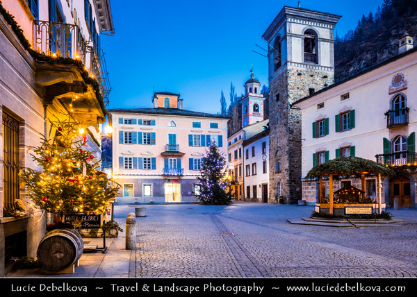 Europe - Switzerland - Swiss - Graubünden Canton - Grisons - Alps - Alpen - Alpi - Alpes - Great Mountain Range in Europe - Poschiavo - Alpine town with imposing Renaissance style of its 19th century architecture located in Val Poschiavo