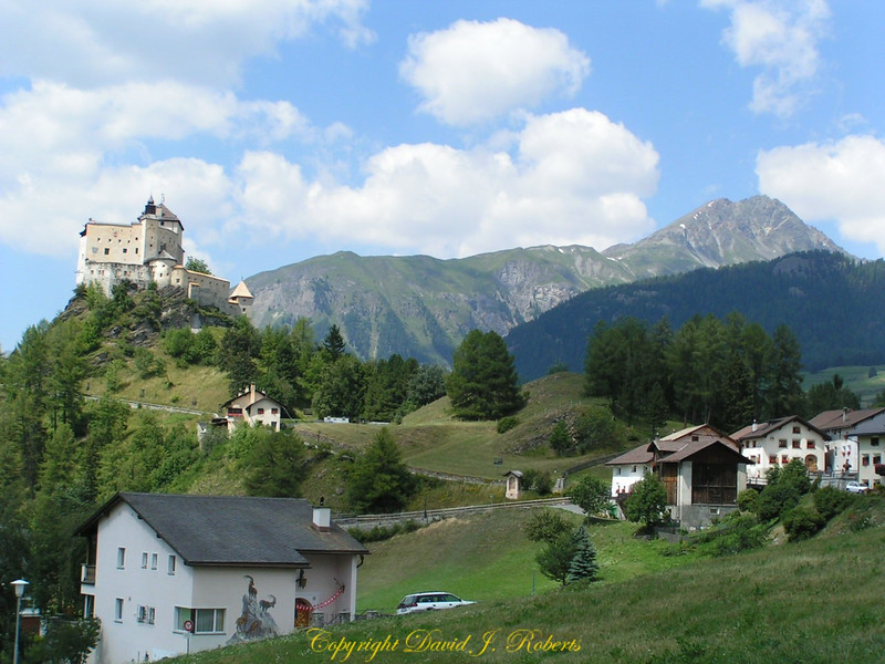 Volpera castle and surround countryside, Switzerland