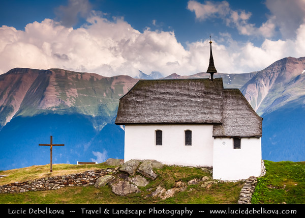 Switzerland - Swiss - The Alps - Alpen - Alpi - Alpes - Great Mountain Range in Europe - Lovely Mountain Church in Village of Bettmeralp - Nearby the impressive Aletsch Glacier