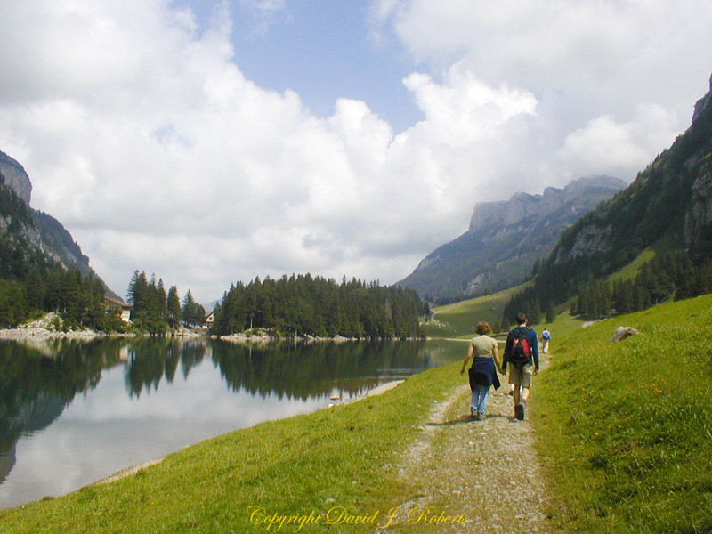 Walking the trail near the Seealpsee, Appenzell, Switzerland