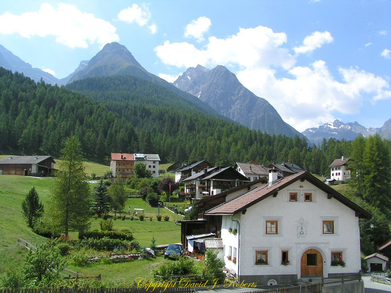 Village in mountains near Volpera, Switzerland