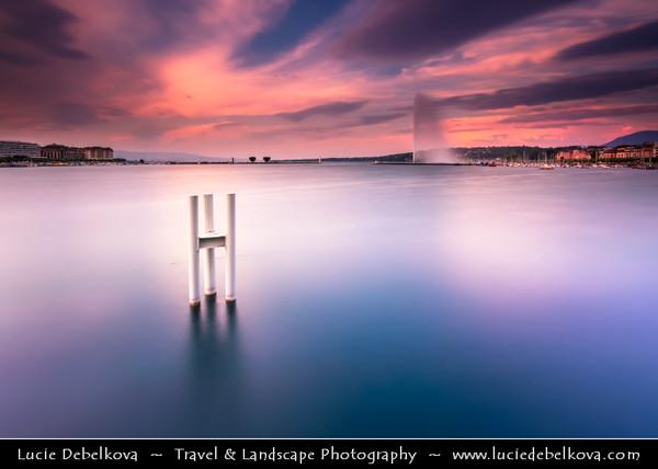 Europe - Switzerland - Swiss - Geneva - Genève - Genf - Ginevra - Lake Geneva (Lac Léman) at Dusk - Twilight - Night - Blue Hour