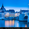 Europe - Switzerland - Swiss - Northwest Switzerland - Canton of Basel-Stadt - Basel - Basle - Old Town on river Rhine with buildings dating back as far as the 15th century