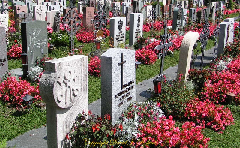 Colorful cemetery in Einsiedeln, Switzerland