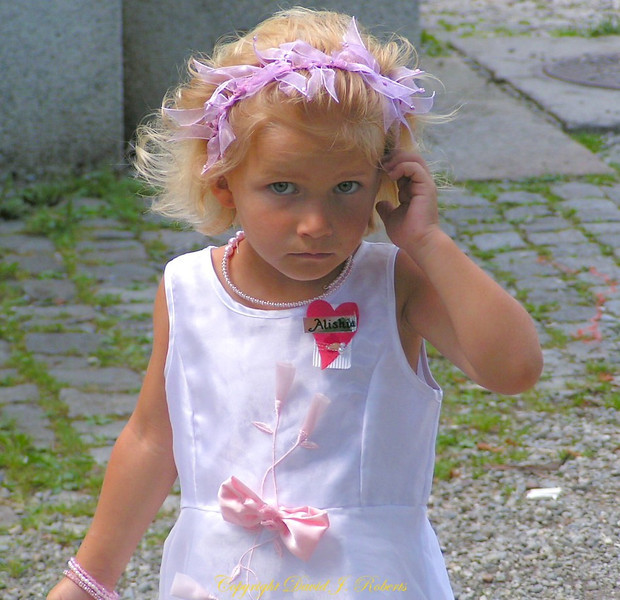 Little girl at a wedding in Einsiedeln, Switzerland